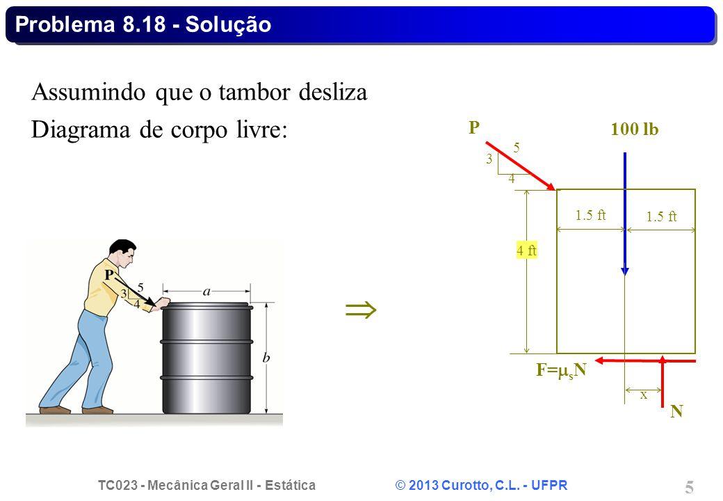  Assumindo que o tambor desliza Diagrama de corpo livre: