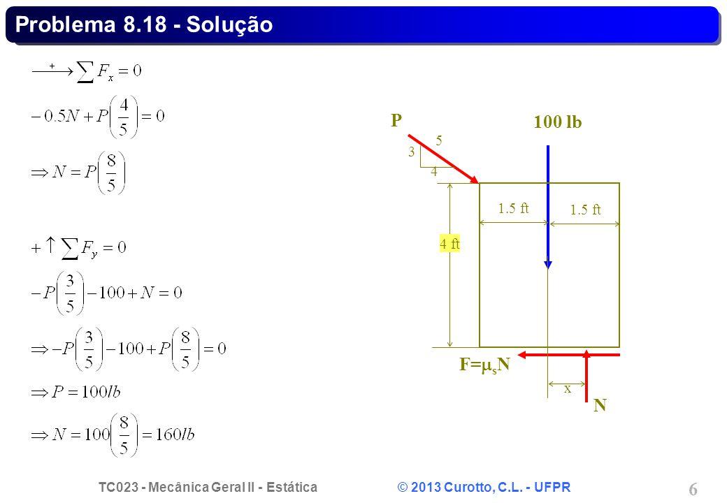 Problema 8.18 - Solução N F=sN 100 lb 1.5 ft x 4 ft P 3 4 5