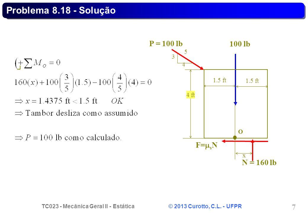 Problema 8.18 - Solução P = 100 lb 100 lb F=sN N = 160 lb 5 3 4
