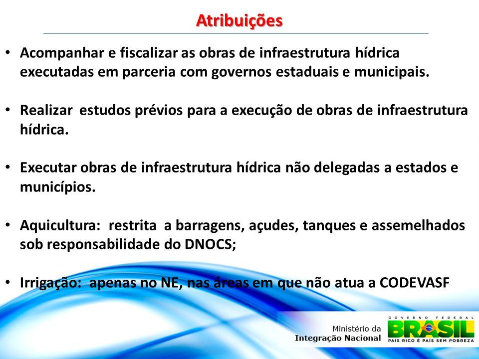 Atribuições Acompanhar e fiscalizar as obras de infraestrutura hídrica executadas em parceria com governos estaduais e municipais.