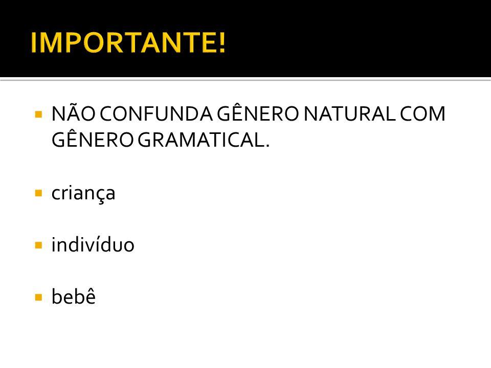 IMPORTANTE! NÃO CONFUNDA GÊNERO NATURAL COM GÊNERO GRAMATICAL. criança