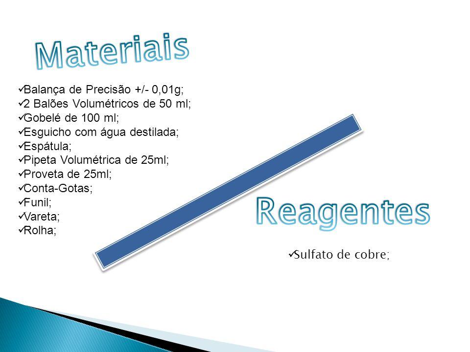 Materiais Reagentes Balança de Precisão +/- 0,01g;