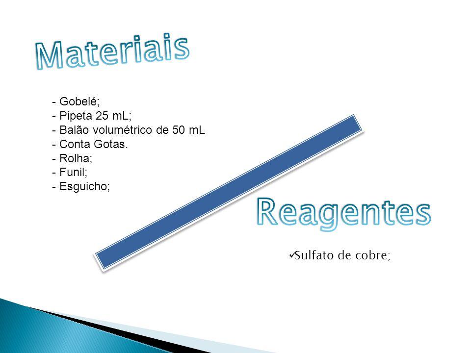 Materiais Reagentes - Pipeta 25 mL; - Balão volumétrico de 50 mL