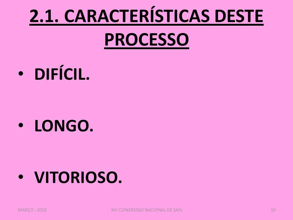 2.1. CARACTERÍSTICAS DESTE PROCESSO
