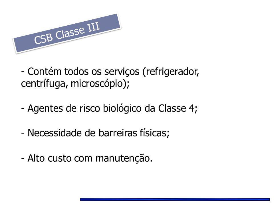 CSB Classe III - Contém todos os serviços (refrigerador, centrífuga, microscópio); - Agentes de risco biológico da Classe 4;