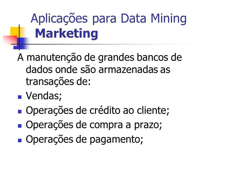 Aplicações para Data Mining Marketing