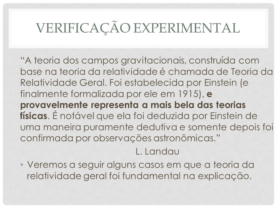 verificação experimental
