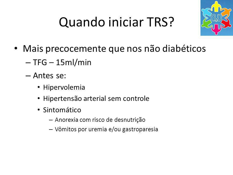 Quando iniciar TRS Mais precocemente que nos não diabéticos