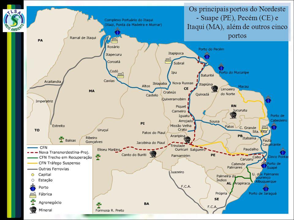 Os principais portos do Nordeste - Suape (PE), Pecém (CE) e Itaqui (MA), além de outros cinco portos