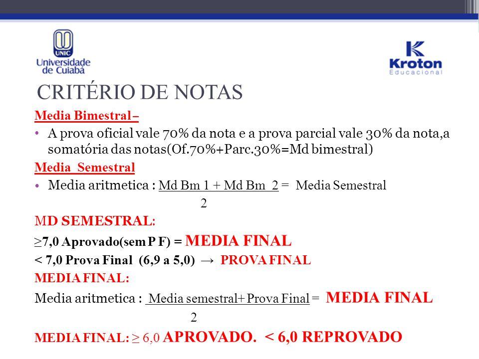 CRITÉRIO DE NOTAS MÉDIA PARA IR PARA EXAME FINAL: de 5,0 a 6,9;
