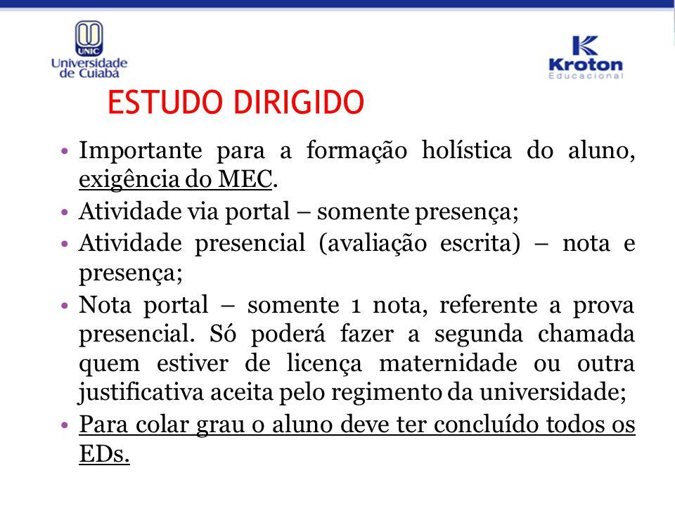 ESTUDO DIRIGIDO Importante para a formação holística do aluno, exigência do MEC. Atividade via portal – somente presença;