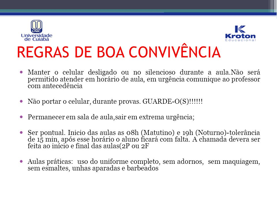 REGRAS DE BOA CONVIVÊNCIA