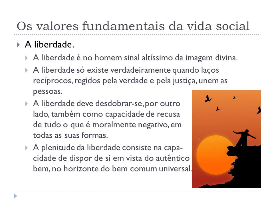 Os valores fundamentais da vida social