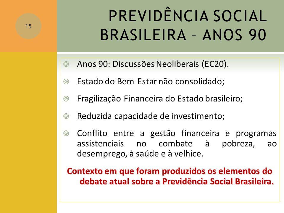 PREVIDÊNCIA SOCIAL BRASILEIRA – ANOS 90
