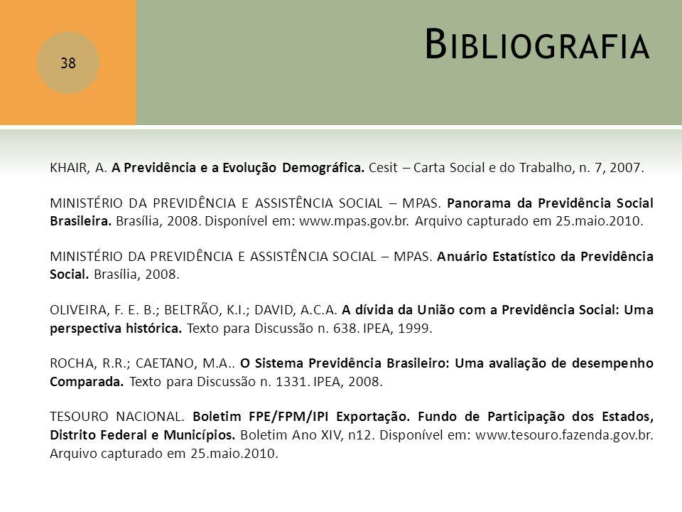 Bibliografia KHAIR, A. A Previdência e a Evolução Demográfica. Cesit – Carta Social e do Trabalho, n. 7, 2007.
