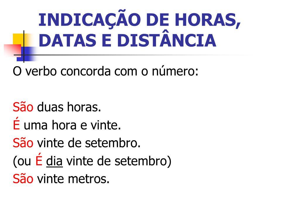 INDICAÇÃO DE HORAS, DATAS E DISTÂNCIA