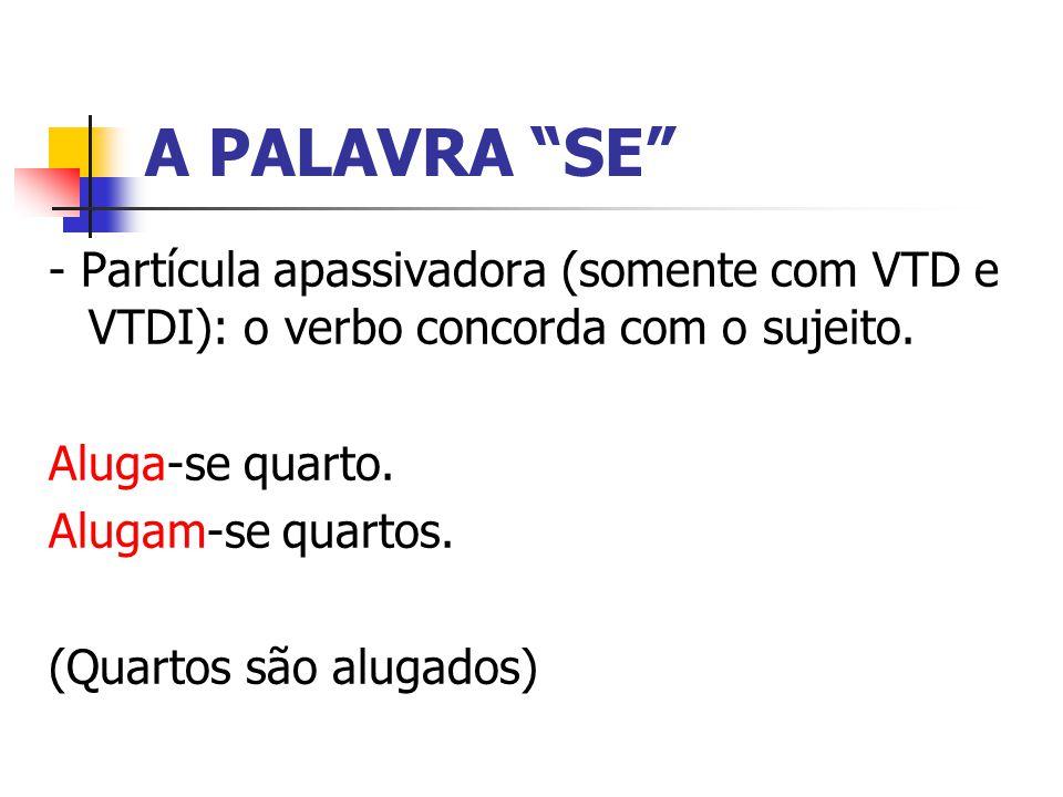 A PALAVRA SE - Partícula apassivadora (somente com VTD e VTDI): o verbo concorda com o sujeito. Aluga-se quarto.