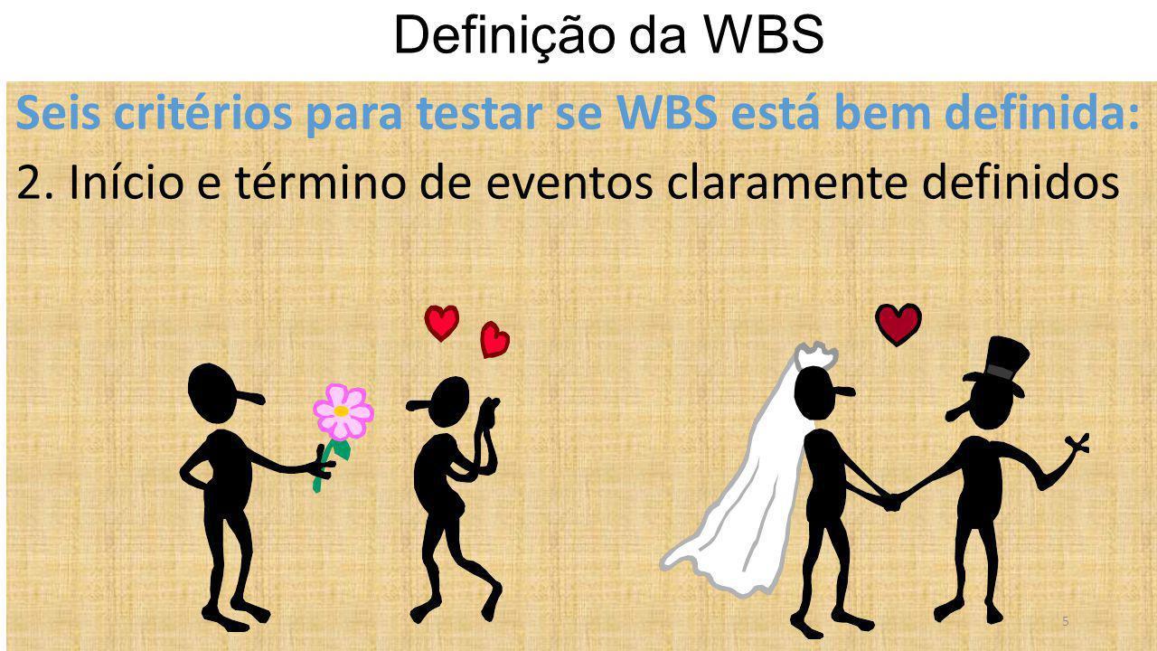 Definição da WBS Seis critérios para testar se WBS está bem definida: 2.