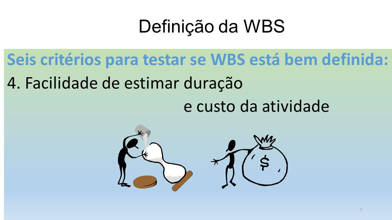 Definição da WBS Seis critérios para testar se WBS está bem definida: 4. Facilidade de estimar duração.