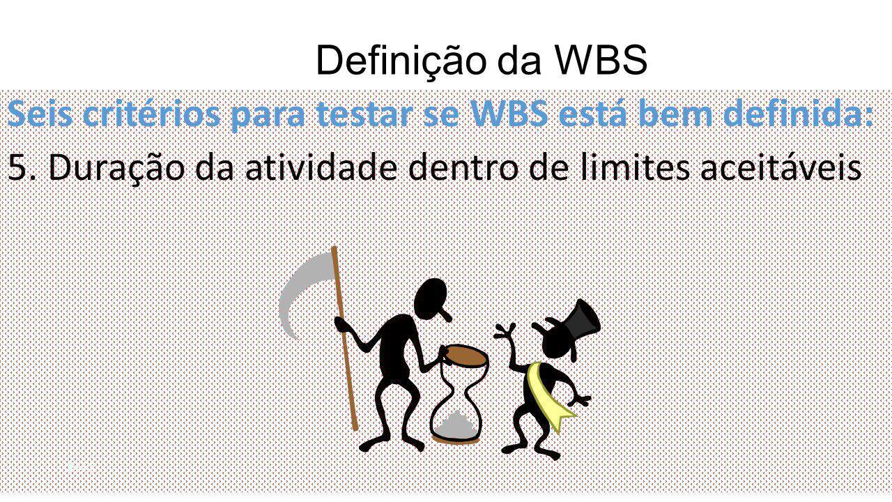 Definição da WBS Seis critérios para testar se WBS está bem definida: 5.