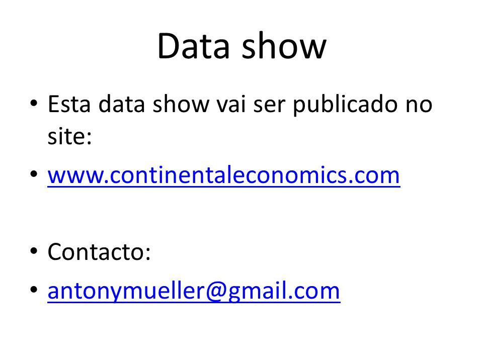 Data show Esta data show vai ser publicado no site: