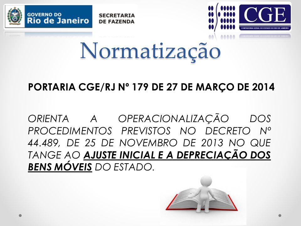 Normatização PORTARIA CGE/RJ Nº 179 DE 27 DE MARÇO DE 2014