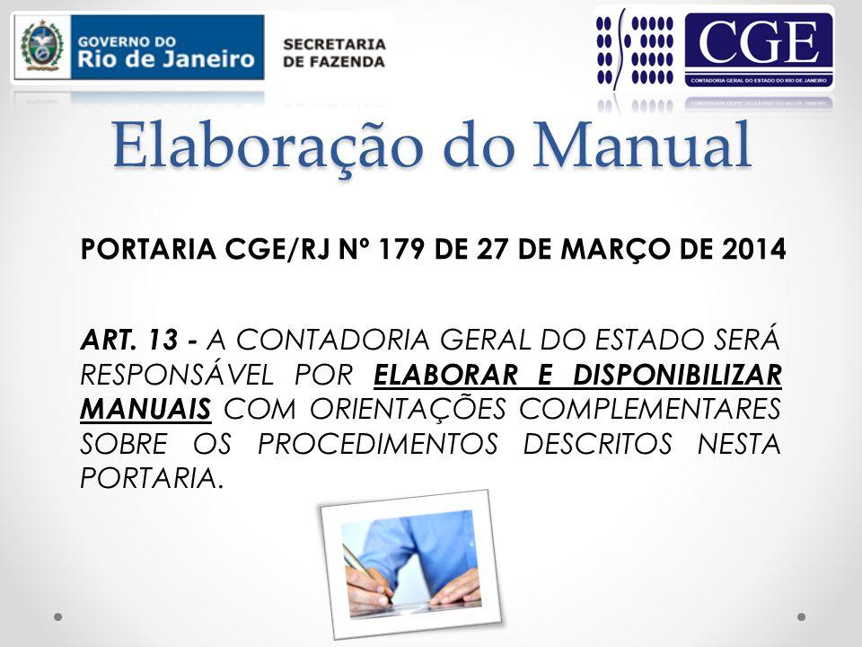 Elaboração do Manual PORTARIA CGE/RJ Nº 179 DE 27 DE MARÇO DE 2014