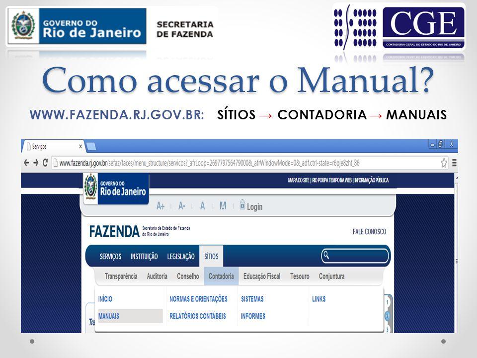 Como acessar o Manual WWW.FAZENDA.RJ.GOV.BR: SÍTIOS → CONTADORIA →