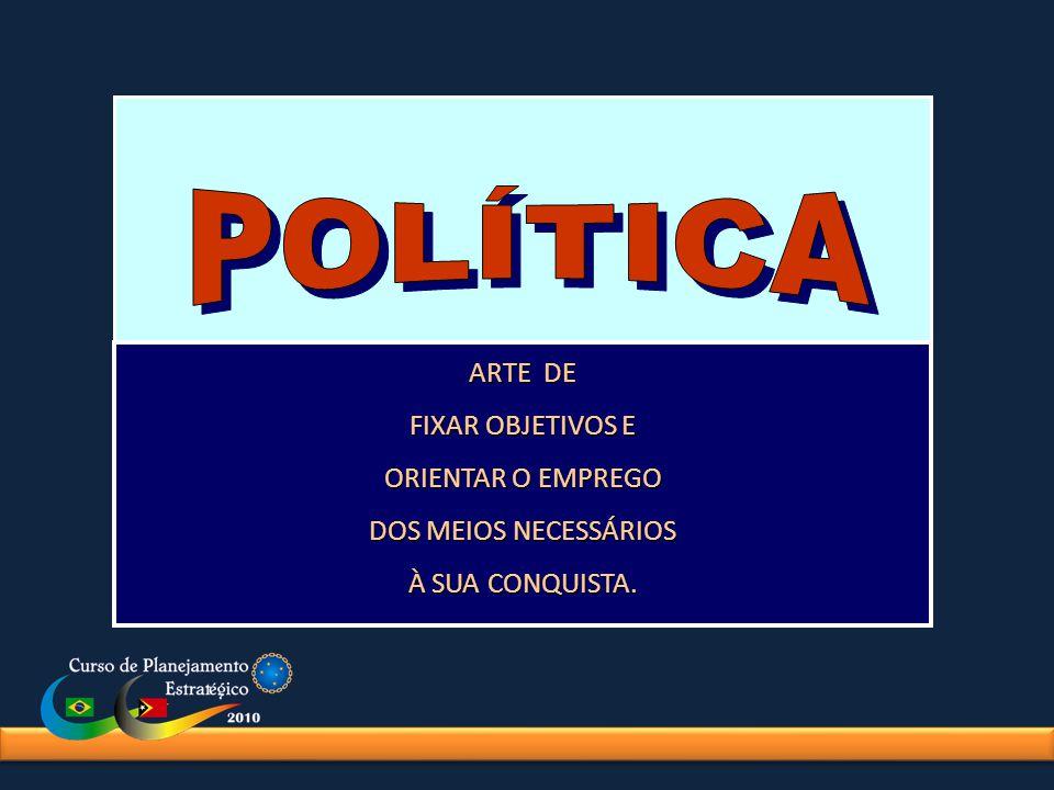 POLÍTICA ARTE DE FIXAR OBJETIVOS E ORIENTAR O EMPREGO