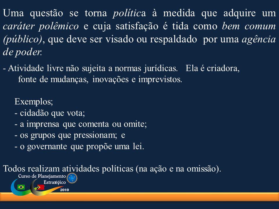 Uma questão se torna política à medida que adquire um caráter polêmico e cuja satisfação é tida como bem comum (público), que deve ser visado ou respaldado por uma agência de poder.