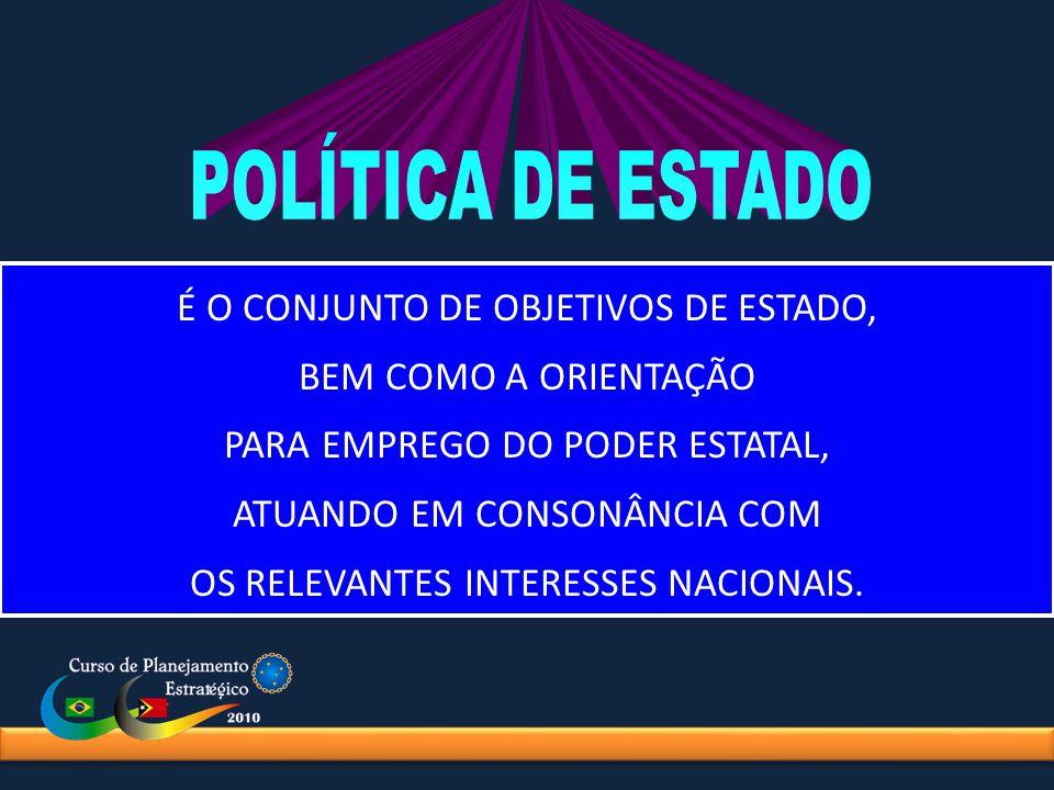 POLÍTICA DE ESTADO É O CONJUNTO DE OBJETIVOS DE ESTADO,