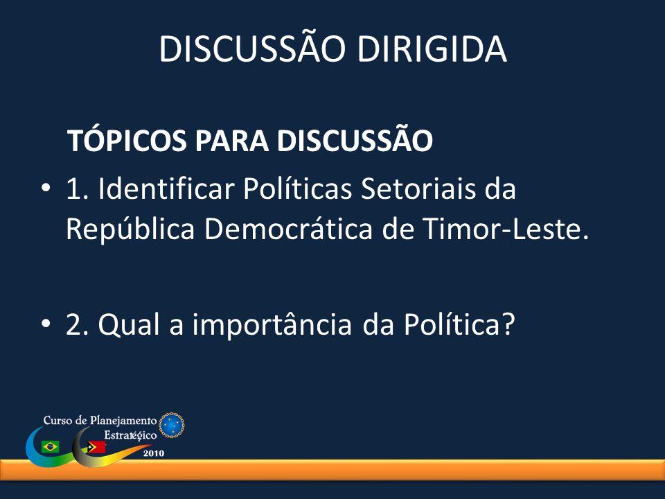 DISCUSSÃO DIRIGIDA TÓPICOS PARA DISCUSSÃO. 1. Identificar Políticas Setoriais da República Democrática de Timor-Leste.
