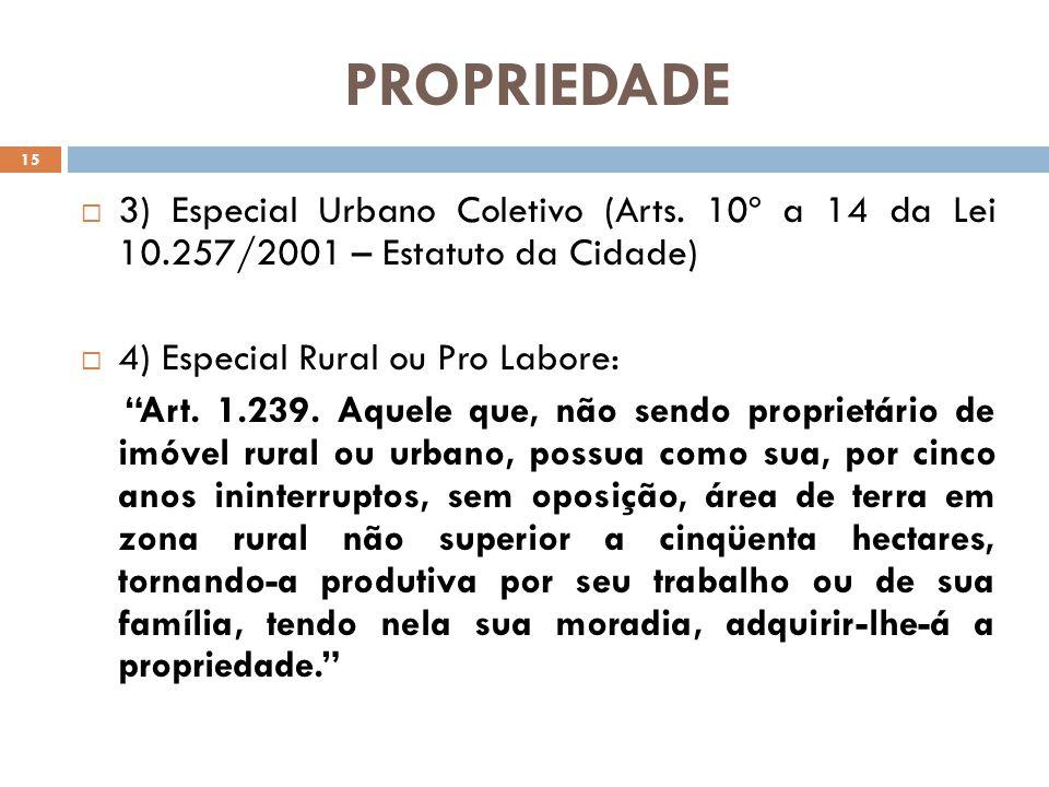 PROPRIEDADE 3) Especial Urbano Coletivo (Arts. 10º a 14 da Lei 10.257/2001 – Estatuto da Cidade) 4) Especial Rural ou Pro Labore:
