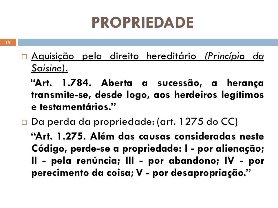 PROPRIEDADE Aquisição pelo direito hereditário (Princípio da Saisine).