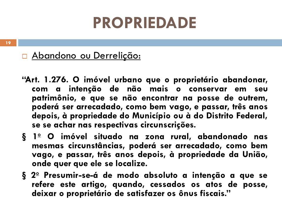 PROPRIEDADE Abandono ou Derrelição:
