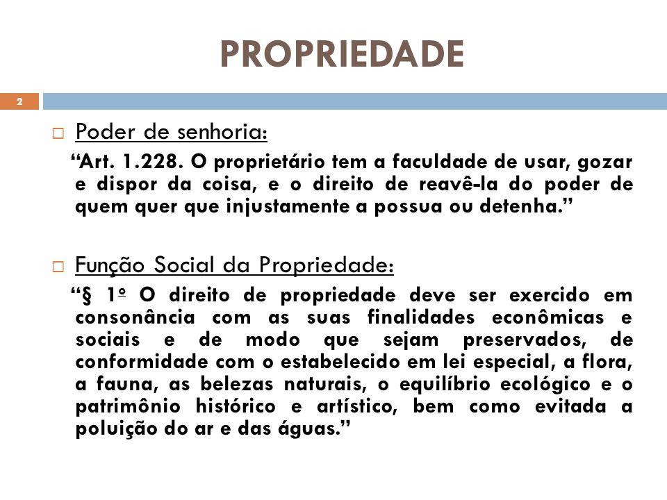PROPRIEDADE Poder de senhoria: Função Social da Propriedade: