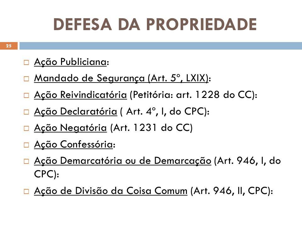 DEFESA DA PROPRIEDADE Ação Publiciana: