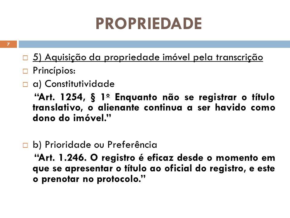 PROPRIEDADE 5) Aquisição da propriedade imóvel pela transcrição