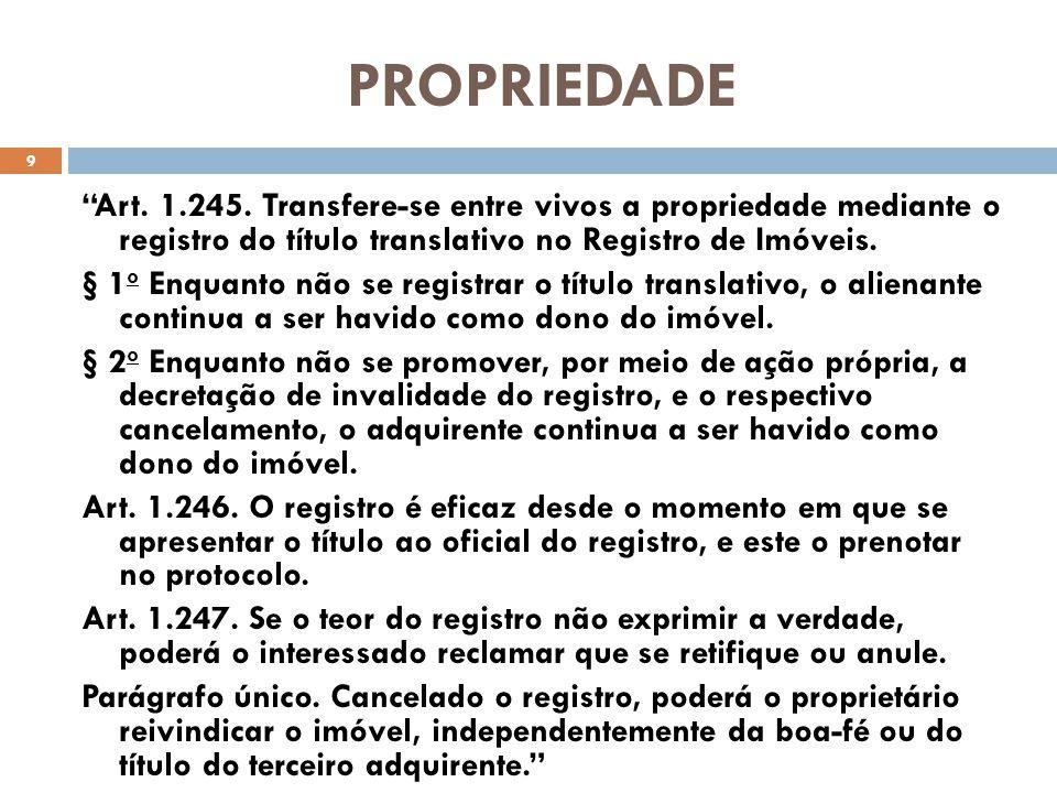 PROPRIEDADE Art. 1.245. Transfere-se entre vivos a propriedade mediante o registro do título translativo no Registro de Imóveis.