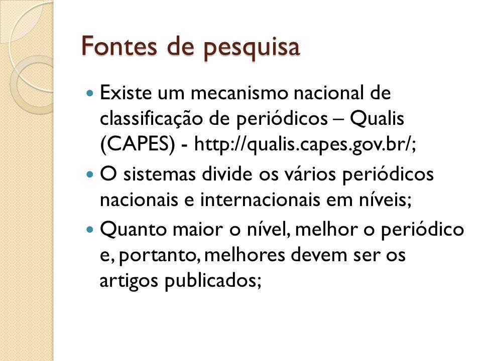 Fontes de pesquisa Existe um mecanismo nacional de classificação de periódicos – Qualis (CAPES) - http://qualis.capes.gov.br/;