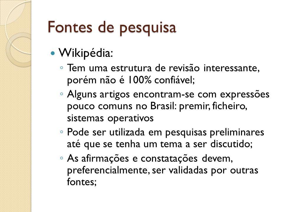 Fontes de pesquisa Wikipédia: