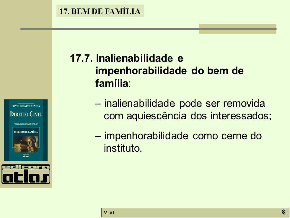 17.7. Inalienabilidade e impenhorabilidade do bem de família: