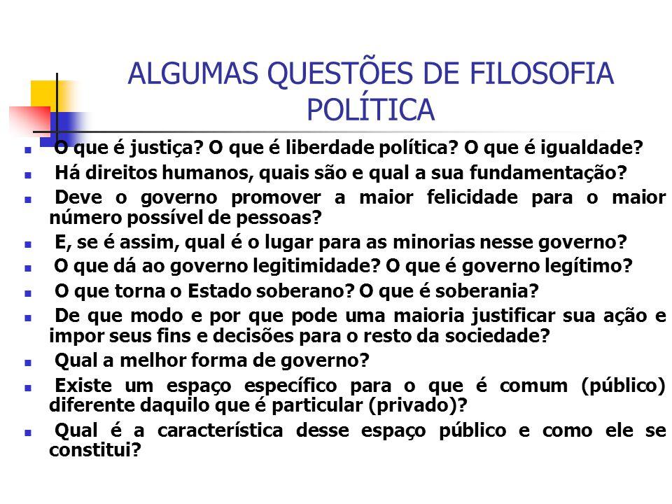 ALGUMAS QUESTÕES DE FILOSOFIA POLÍTICA
