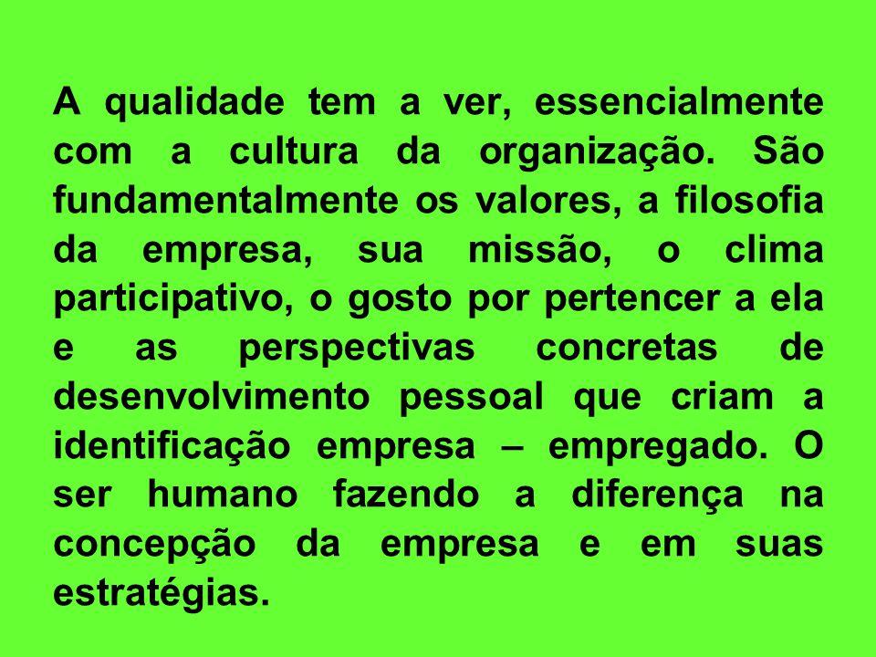 A qualidade tem a ver, essencialmente com a cultura da organização
