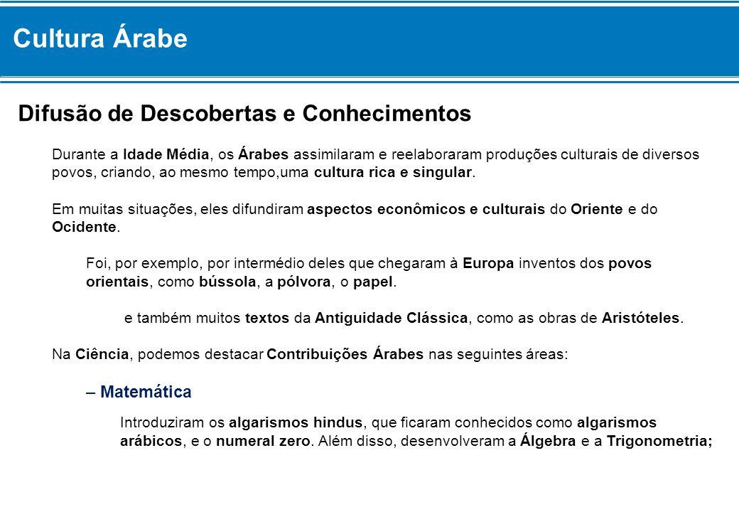 Cultura Árabe Difusão de Descobertas e Conhecimentos – Matemática