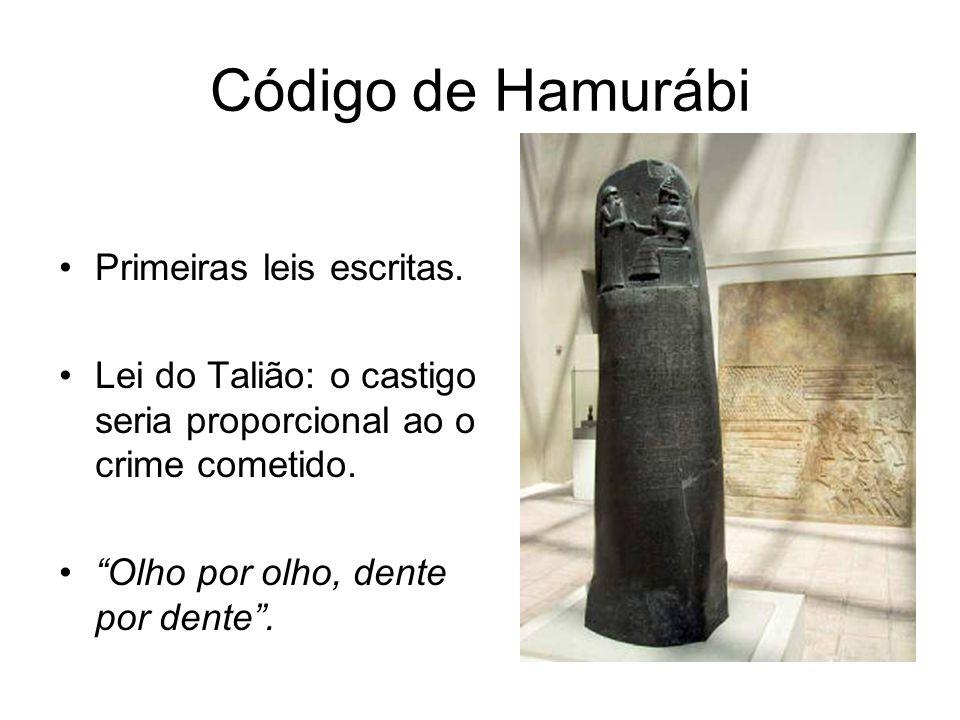 Código de Hamurábi Primeiras leis escritas.