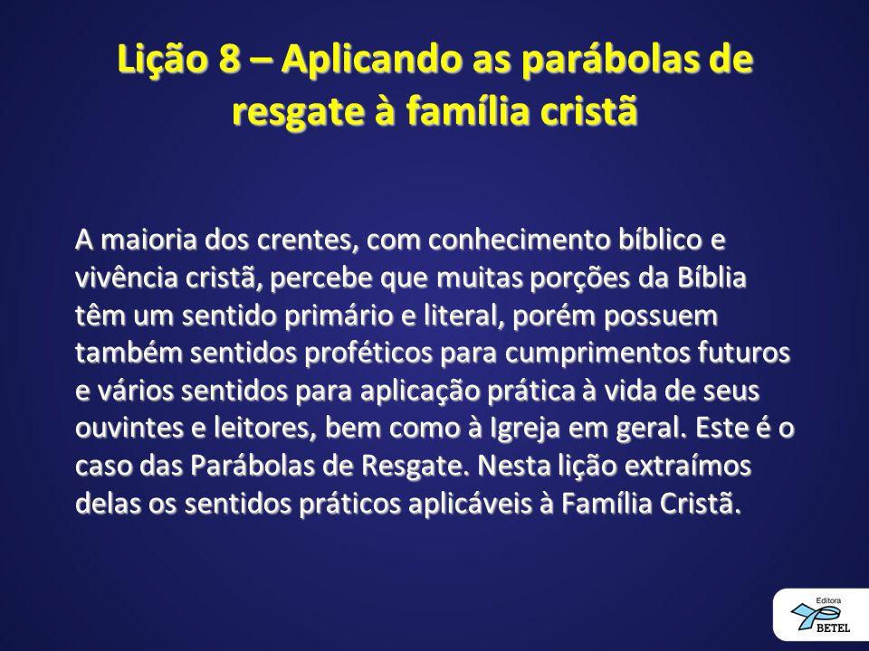 Lição 8 – Aplicando as parábolas de resgate à família cristã