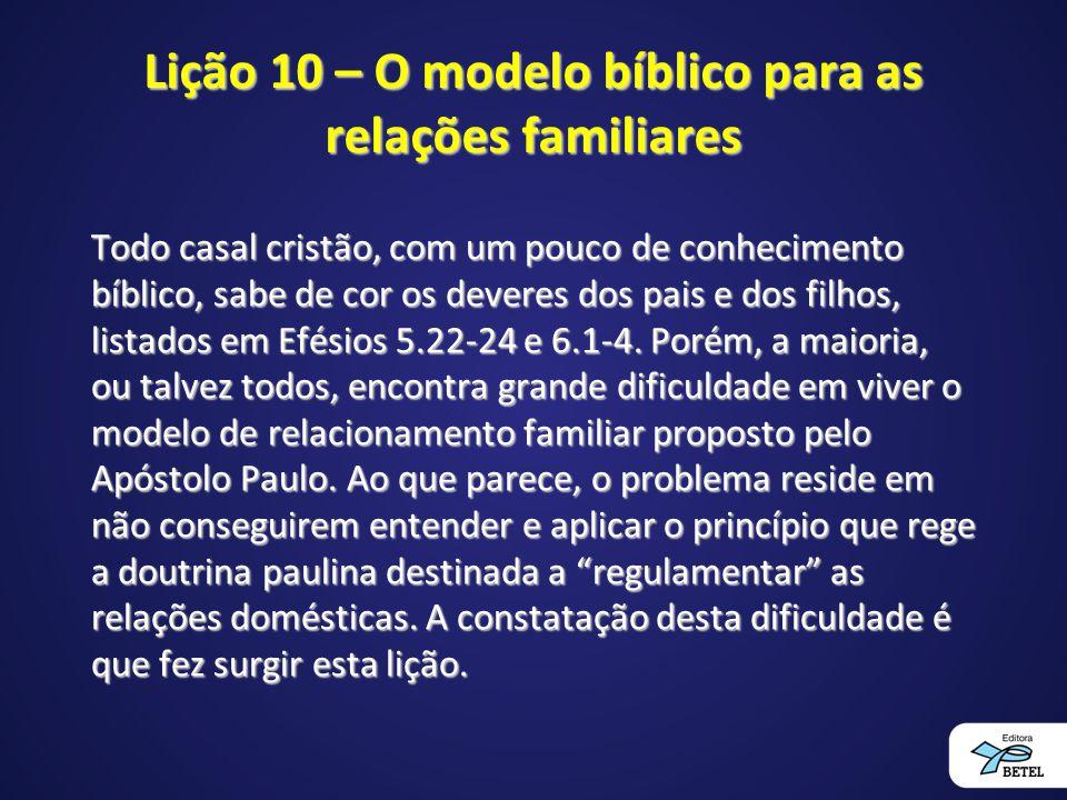 Lição 10 – O modelo bíblico para as relações familiares