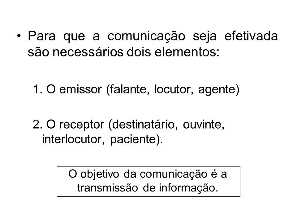 O objetivo da comunicação é a transmissão de informação.