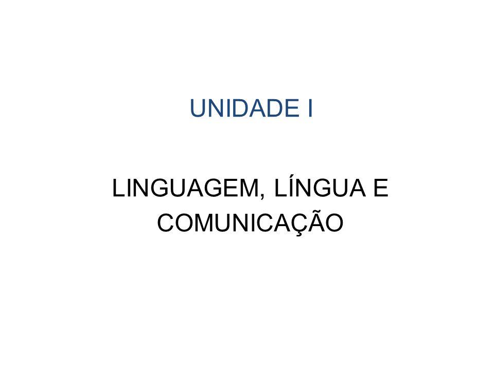 UNIDADE I LINGUAGEM, LÍNGUA E COMUNICAÇÃO